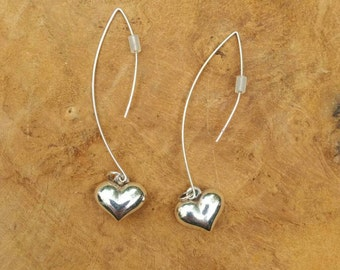 Silver Heart Earrings - Valentine Gift - Love - Gift for her - Sterling Silver Earrings - Hearts