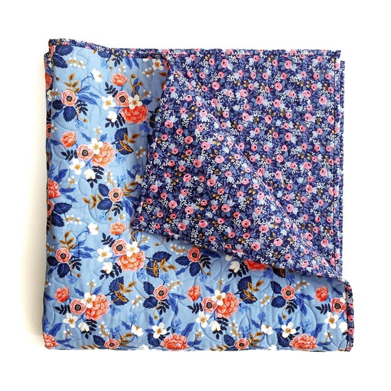 Rifle Paper Co. Wholecloth Baby Quilt with Birch in Periwinkle and Rosa in Navy  > MADE-to-ORDER blue floral toddler quilt, coral crib quilt