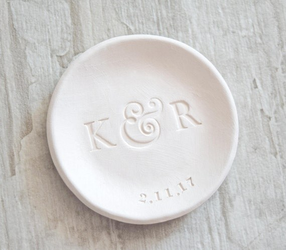 wedding ring dish personalized letters ring holder initials