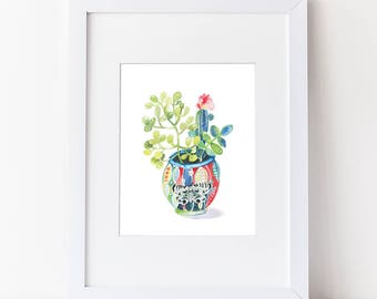 Watercolor Cactus - Blooming Potted Cactus  - Cacti and Succulents - Watercolor Modern Art Print - Pink Cactus Bloom - Colorful - Moth