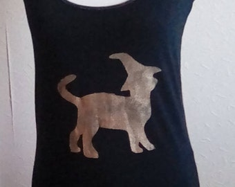 Plus Size available, Witch Cat Vest Top, Cat Print Clothing, Magical Vest, Cat Gift, Gifts for Her, Witchy Gift