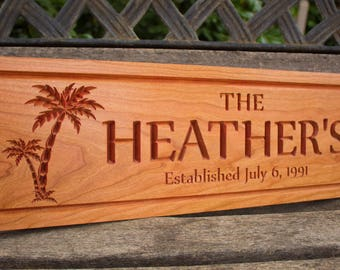 Cherry Wood Established Sign w/ Carved Palm Trees - Custom Family Name Sign - Wood Sign - Personalized Gift Home Decor