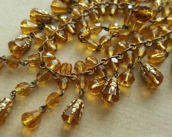 Vintage Art Deco 1930s Czech Citrine Crystal Drop Crystal Bead Necklace.
