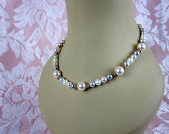 Marvella Women's Faux Pearl Necklace White Pink Grey Beads, One Strand Choker, Circa 1950s
