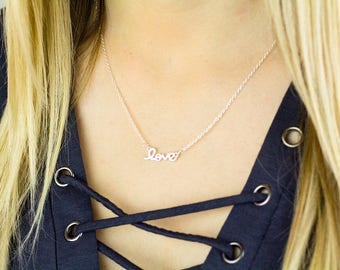 Silver Love Necklace, Love Script Necklace, Love Charm Necklace, Love Silver Necklace, Dainty Love Necklace, Simple Love Necklace