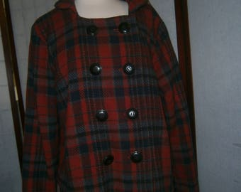Women's Plaid Wool Pea Coat