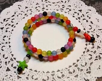 FROSTY BEADED RAINBOW Memory Wire Bracelet