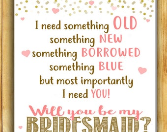 Will you be my BRIDESMAID Card - Bridesmaid Proposal - Printable PDF, Instant Download Wedding Maid of Honor Ask Pop the Question
