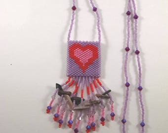 Beaded Heart Peyote Pouch Necklace, Valentine Necklace, Small Amulet Bag, Native American Art Style Jewelry, Purple, Pink, Red Heart Design