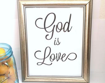 God Is Love Print, Wall Art, Instant Print, Download Print, Topography, Wall decor, House decor, Decoration, Love, Gift, Black & White