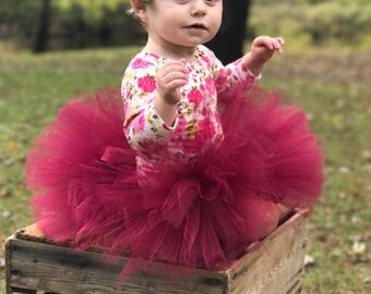 Burgundy tutu, Fall tutu, Thanksgiving tutu, first birthday tutu, baby girl tutu, smash cake tutu