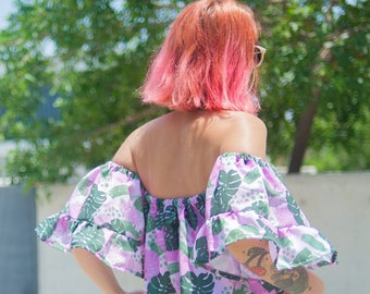 Pink Monstera off shoulder top with bell frilled sleeves and same print chocker | MADE To ORDER