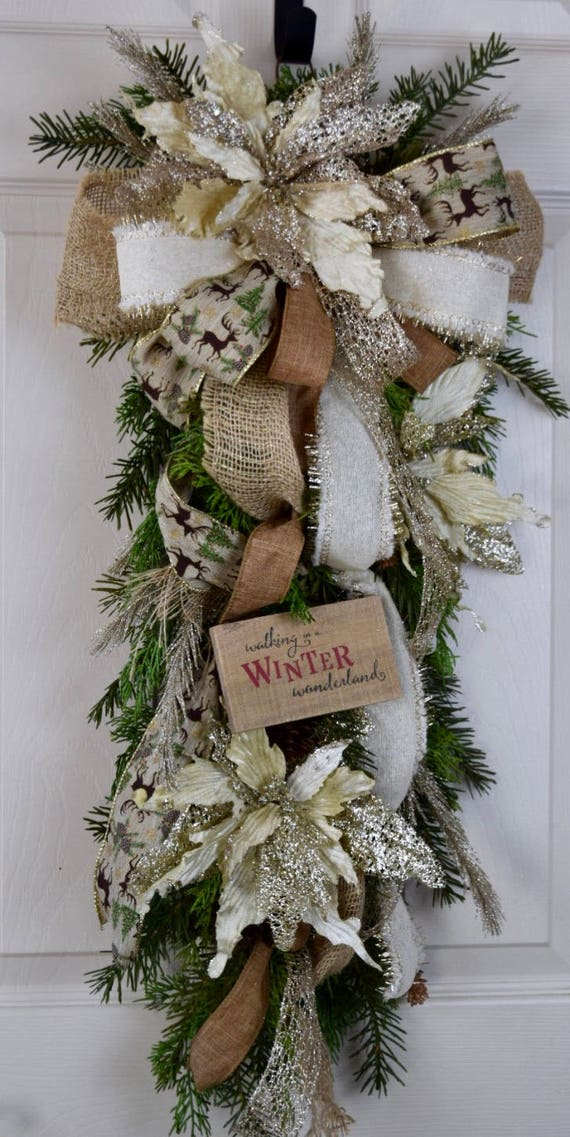 Winter Wonderland Teardrop Cypress Swag with Pine Cones; Rustic Winter Holiday Door Decor; Evergreen Christmas Wreath; Christmas Door Decor