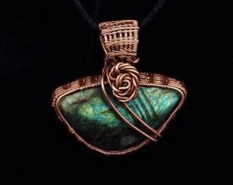 Labradoite Stone Wire Wrapped Pendant Necklace