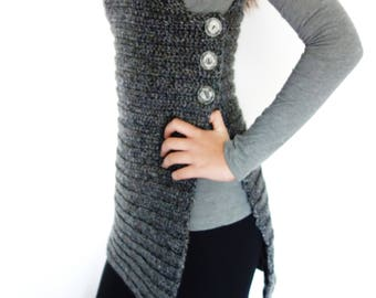 Crochet Pattern - Buttoned Vest/Side Close Shrug/ Ribbed Buttoned Sweater/ Sleeveless Cardigan