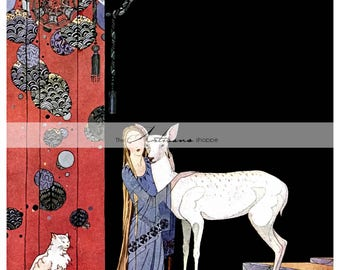 Digital Download Printable - Princess with White Deer White Cat Antique Children's Fairy Tale Art - Paper Crafts Scrapbooking Altered Art