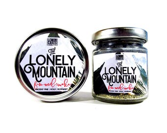 The Lonely Mountain - Book Candle - 4oz or 6oz Soy Candle - LemonCakes Candle Co - Ancient Pine, Gold, & Rosemary