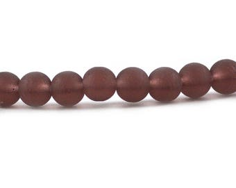 Recycled Cultured Sea Glass Round Beads Smoky Dusty Amethyst Purple 6mm