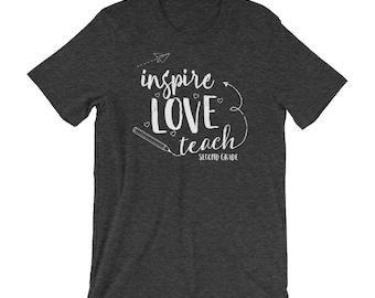 "Second Grade ""Inspire Love Teach"" Teacher Tshirt | Super-Soft, Heathered, & Distressed | Elementary | School Spirit | Team Shirt"