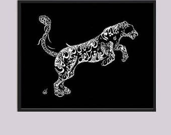 Panther Arabic Calligraphy - Best of Arabic Poetry - Poetry by Al Mutanabbi- Arabic Calligraphy Prints - White on Black