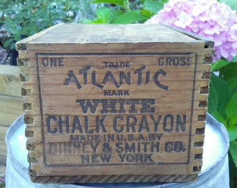 Vintage Atlantic White Chalk Crayon wood crate dovetail box Binney and Smith retro advertising collectible rustic industrial decor
