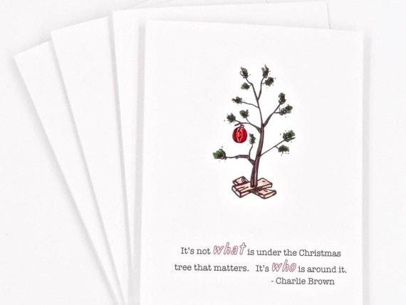 Christmas Card Set Charlie Brown Christmas Tree Card Peanuts