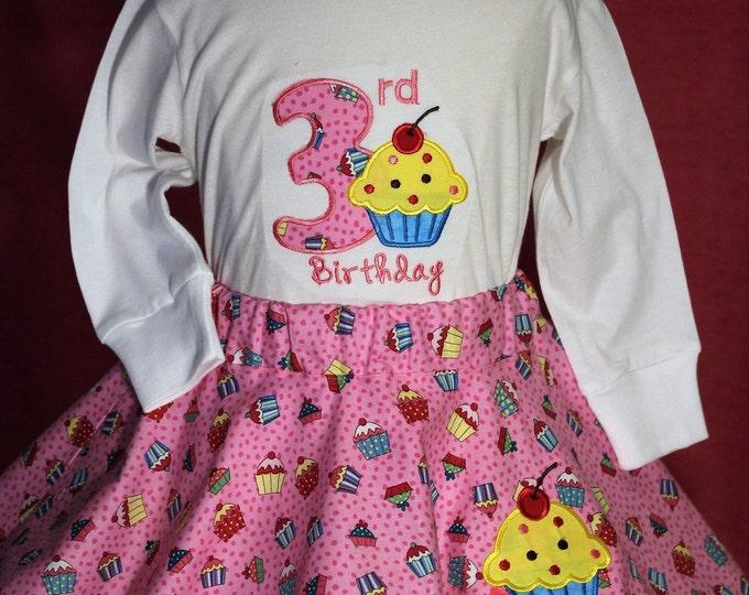 3rd birthday girl outfit,Third birthday girls outfit, Cupcake birthday shirt, Cupcake birthday twirl skirt,Pink birthday outfit,Pink skirt