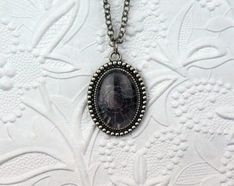 Black Succulent Photo Necklace in Dotted Oval Setting Black Rose Jewelry Black Rose Necklace Cactus Photo