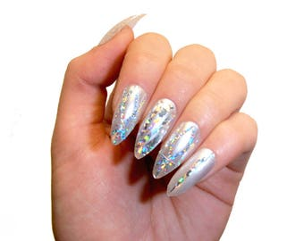 holographic glitter gel nails fake nails press on nails