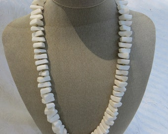 Crown Trifari White Chunky Acrylic with Gold Spacer Beads Necklace