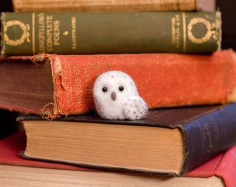 Miniature Hedwig Snowy Owl Needle Felted Harry Potter Characters Figurines - Made to Order