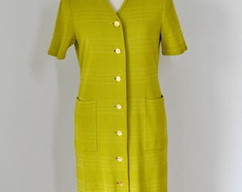 vintage YSL Yves Saint Laurent women olive yellow midi dress, front placket with engraved YSL golden color buttons, size M
