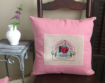 Handmade Throw Pillow - Blush Pillow Cover - Cross Stitch Pillow - Washington State - Country Home Decor - Cherry Fruit - Vintage Decor