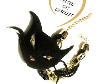 Black Cat Bracelet, Versatile Felted Cat Brooch/Bag Dangle/Key Ring,Hand Felted Cherished Gift,Keepsake Gift, Needle Felted Bracelet