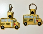 Personalized School Bus Key Chain / Ring / Fob - Bus Driver Appreciation Gift - Student Bus Reminder - Custom