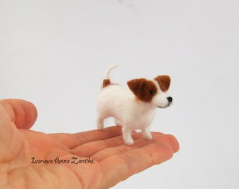 Tiny dog Felt dog felt toy natural wool toy needle felted animal tiny puppy miniature dog needle felted dog Jack Russell Terrier Blythe