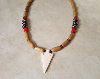 Mens Arrowhead Necklace - Tribal Bone Necklace - Coral Necklace - Native American Necklace - Cultural Necklace - Masculine Necklace