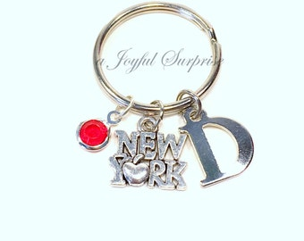 New York Keyring,  NYC Key chain, Travel Gift for New Yorker Keychain, The Big Apple I love NY, NYU Student Initial Birthstone her him women