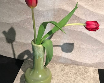 """Green Drip Glaze Art Pottery Bud Vase  marked H-498 about 7"""" tall"""