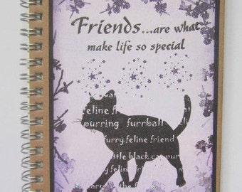 Cat notebook Gift for cat lover, C6 journal, Feline pocket book  Friendship gift Gift for friend Christmas present, Lined jotter