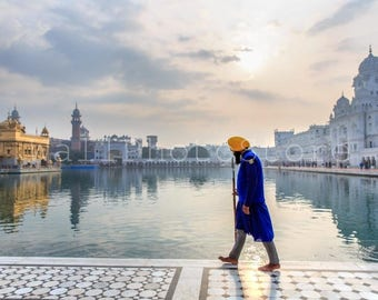 India Photography, Sikh Warrior, Golden Temple, Amritsar, India, Holy Lake, Sikh Photo, Sikhism, Sikh Art, Fine Art Print, India Print Art