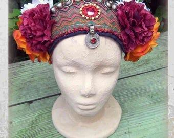 ATS Costume Headdress, Flowers Headpiece, Tribal Belly Dance Headdress, Headband, Gypsy Headdress with silk Flowers, Tribal fusion Headdress
