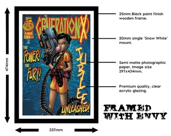 Comic Print (A3/Framed) + Collectible Comic - 10 Variants - Comic Gift Pack - Marvel, DC, Xmen, Avengers, Super Heroes, Villains