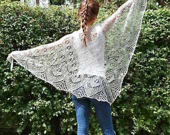 Grey lace shawl wrap hand knitted merino wool shawl lightweight lace wrap shawl silver grey bridesmaid cover up shawl wedding shower gift