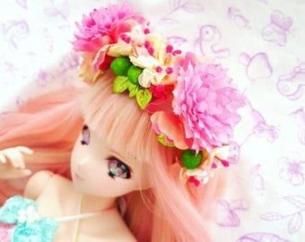 Sd / Dd - Pink and Lime Flower Crown