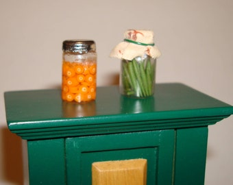 Vintage Miniature Dollhouse Homemade Canned Goods in Mason Jars!   Preserved Green Beans and Carrots!  Scale 1:12  Shabby Chic Accessories.
