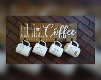 But first, Coffee Mug holder wood sign - coffee bar - coffee bar sign - coffee bar decor