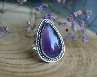 Amethyst Ring, Sterling Silver Ring, Size 7.5, Boho Ring, Handmade Jewelry, Gemstone Ring, Amethyst Jewelry, Gift for women, Purple ring