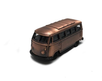 Vintage vw van miniature,metal van pencil sharpener,toy van,bus toys,miniature bus,bronze van model,retro collection