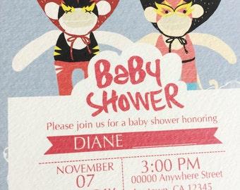 Baby Shower Invitation Template, DIY Baby Shower Template, PDF Instant Download, Monkey Wrestler Shower Invitation